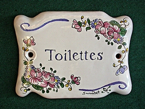 Plaque de porte d corative toilettes fa ence d cor de rose for Plaque de porte decorative