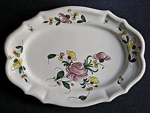 Plat ovale Samadet T3 rose et pois de senteur