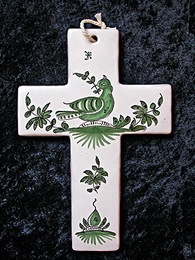 Croix faïence à suspendre, palombe verte