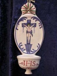 Bénitier à suspendre Christ polychrome