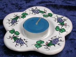 Bougeoir Fleur estampé main, décor aux raisins