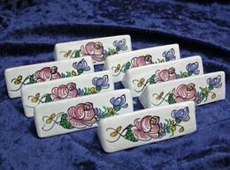 Porte-couteaux X 8 décor à la Rose manganèse