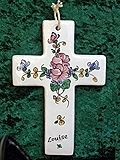 Croix faïence, personnalisée avec prénom / date, à commander