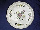 Très grand plat à tarte, décor de roses