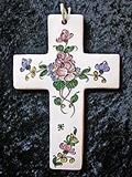 Croix faïence à suspendre décor de roses